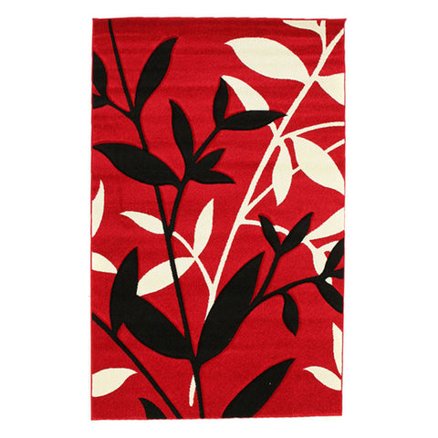 Stunning Spring Leaf Rug Red Black