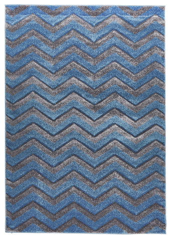 Modern Chevron Design Rug Blue Grey