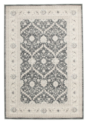 Chobi Design Rug Navy Grey Bone