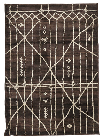 Moroccan Tribal Design Rug Chocolate