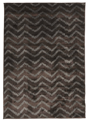 Moroccan Chevron Design Rug Brown Grey