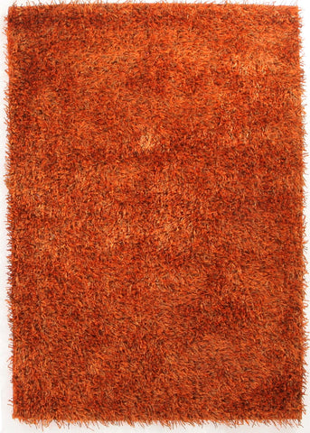 Metallic Thick, Thin Shag Rug Rust