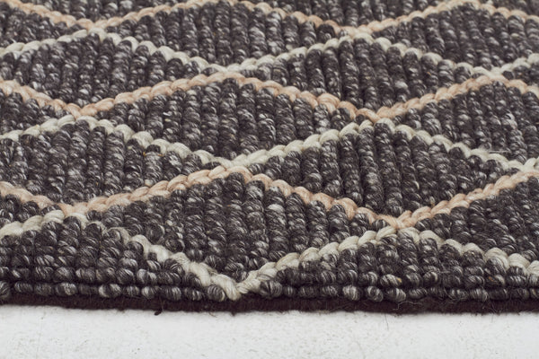 Luxury Madras Felted Wool Rug Blue Charcoal