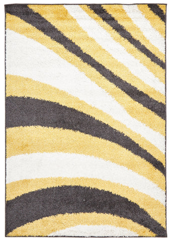 Burst Shag Rug Yellow and Charcoal