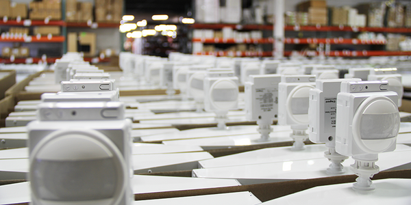 AEI Lighting occupancy sensors on AEI Lighting highbay LED fixtures for warehouse, distribution centers, processing centers and industrial facilities -- energy efficient for facilities management success.
