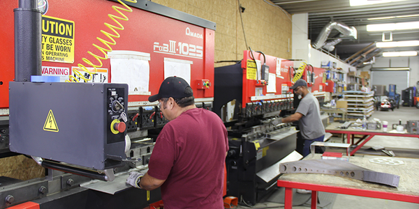 AEI Lighting's fabrication facility in Mesa, Arizona where our MadeInUSA fixtures are laser cut, formed and finished