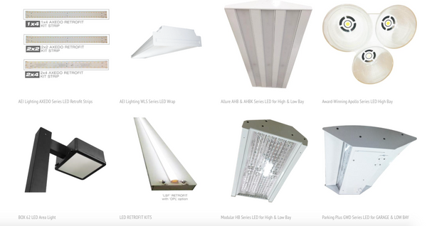 AEI Lighting's DLC Listed LED Lighting fixtures include retrofits, high bay, site area, vapor tight and wall packs.