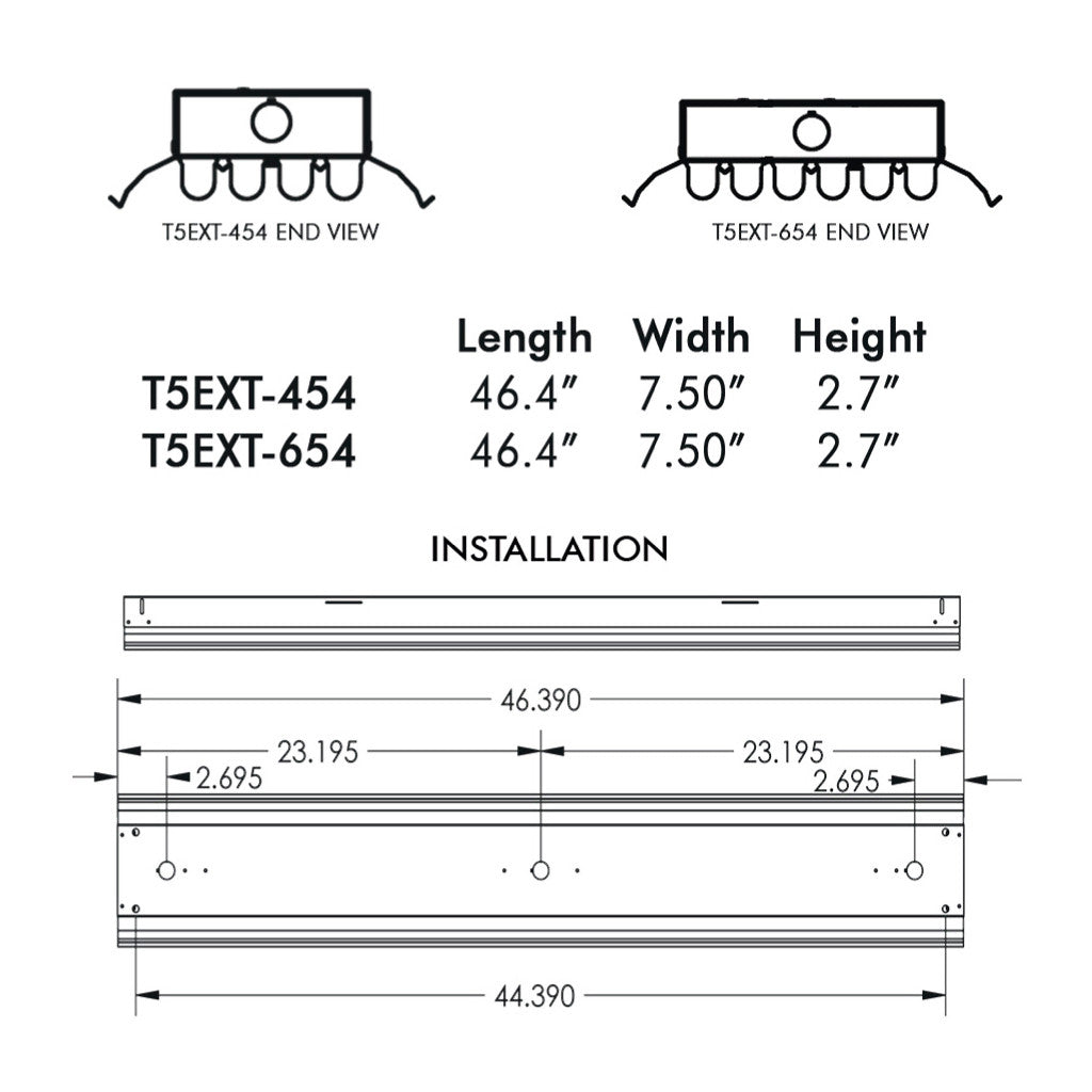 T5 T5ho Low Bay Fixtures Aei Lighting 480 733 6594 4ft 4 Bulb Fixture With Sensor Wiring Diagram Fluorescent T5ex 6 Lamp High For Extreme Environments