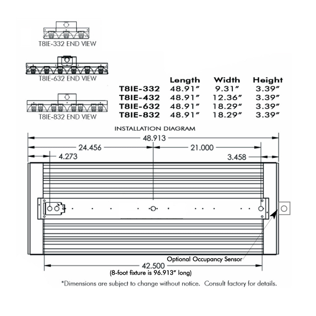 Aei Lighting T8 Fluorescent Industrial Fixtures Light In Series Wiring Diagram 65c Rated Energy Efficient Economy Fixture For High Bay