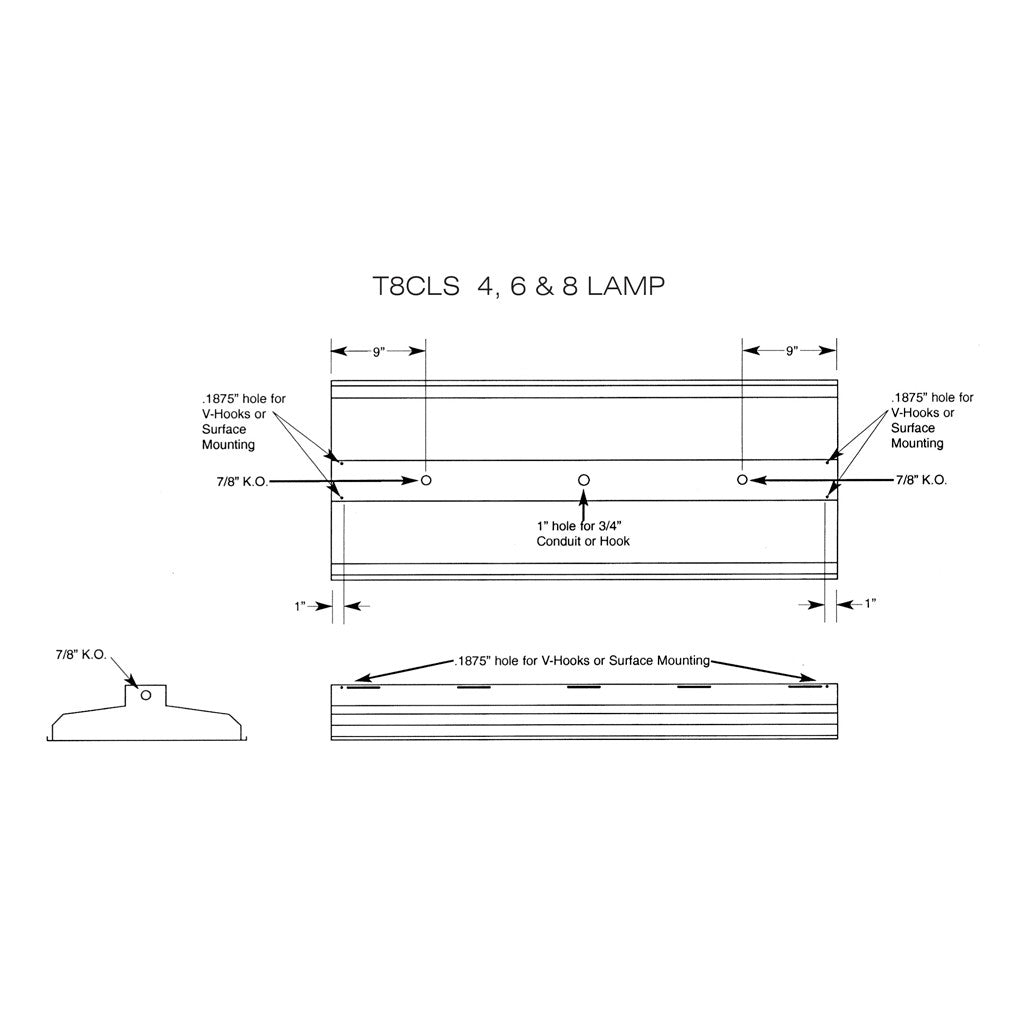 Aei Lighting T8 Fluorescent Industrial Fixtures Adjustable On Wiring In Series Cls 4 6 8 Lamp Linear Fixture