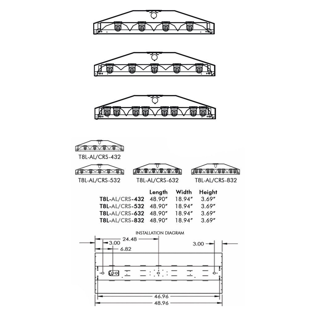 Aei Lighting T8 Fluorescent Industrial Fixtures Bulbs Wiring Diagram T8l 4 5 6 8 Lamp Linear Fixture