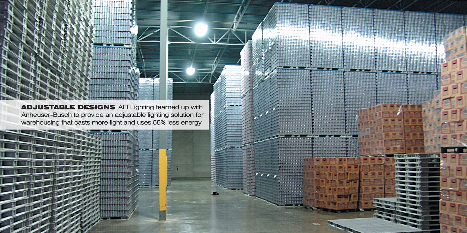 AEI Lighting Works With Fossil To Save Energy By Using T5 Fluorescent Industrial Lighting Fixtures and Skylights in its Distribution Center