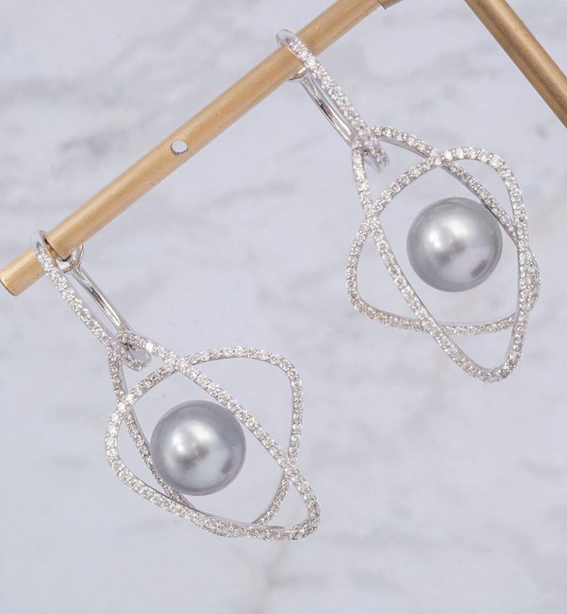 Luxury Diamond Earrings Designed - BUY Tahitian Pearls jewellery wholesale - CMWPEARLS.COM