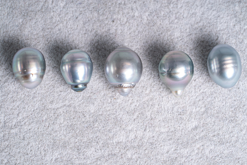 5pcs 9-10mm Silver Grey AA Tahitian Pearls