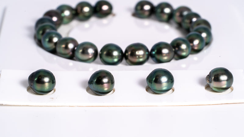 "24pcs ""Peacock Hunter"" Peacock Color Bracelet - Semi-Baroque 8mm AA quality Tahitian Pearl"