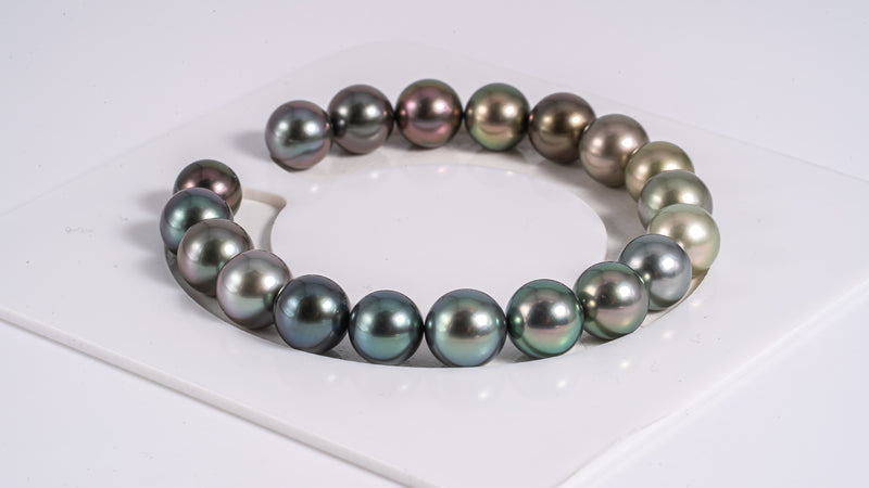"19pcs ""Rainbow III"" Multi Color 9mm - Pearl Bracelet Round AAA quality"