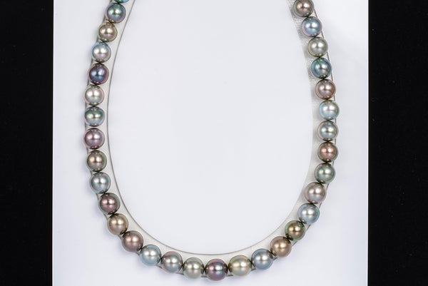 "43pcs ""Alice"" Fancy Color Necklace - Semi-Round 10mm TOP/AAA quality Tahitian Pearl"