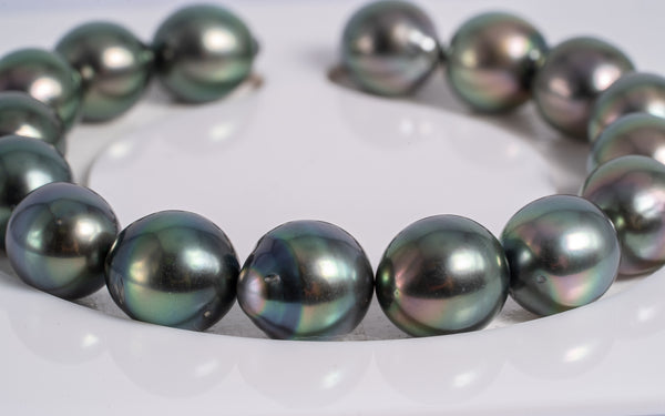 "16pcs Light Peacock ""Pacific"" Semi-Baroque - 10mm Tahitian Pearl Bracelet AAA quality"