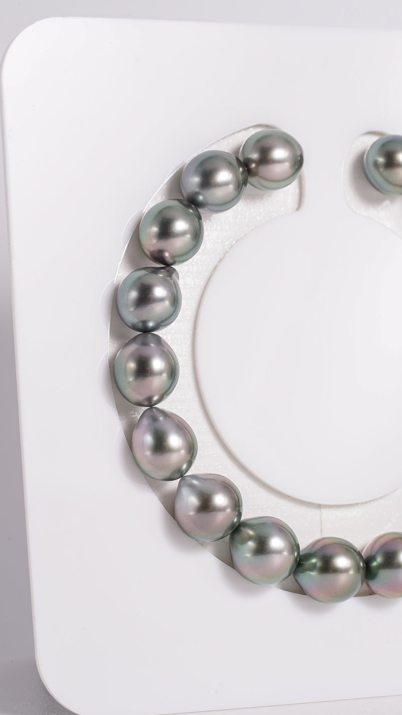"18pcs ""Try"" Shinny Green Color 9mm - Tahitian Pearl Drop Bracelet TOP quality"