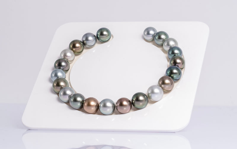 "21pcs ""Style"" Multi Color Round - 9mm Tahitian Pearl Bracelet AAA quality"