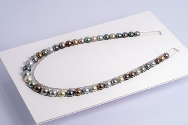 "44pcs ""Mermaid Alike II"" Multi-Color Necklace - AAA quality 8-10mm AAA quality Tahitian Pearl"