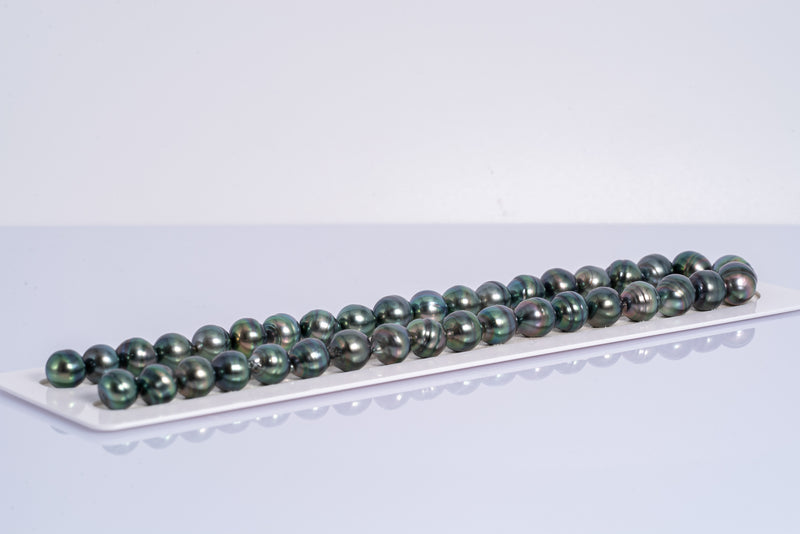 "38pcs ""Blue Lady"" Royal Blue Necklace - Circle 10-13mm AAA quality Tahitian Pearl"