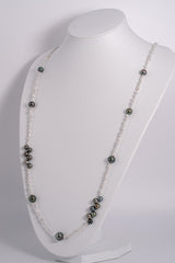 """Ocean Current"" Tahitian Silver Necklace with Akoya Keishi"