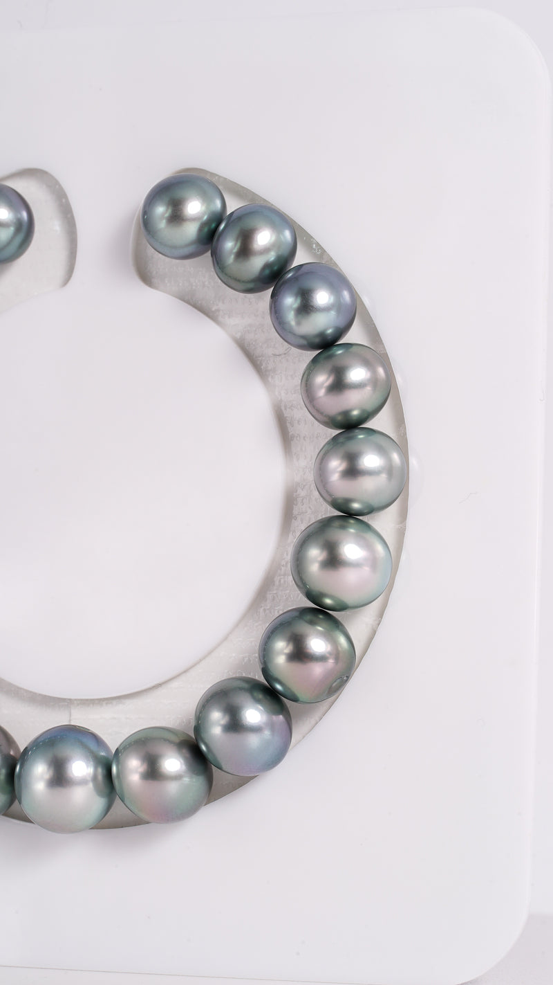 "19pcs ""Blue Dream"" Green & Blue Color 8-10mm - Tahitian Pearl Bracelet Oval TOP quality"