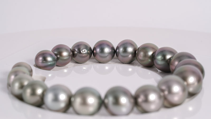 "19pcs ""L'AME"" Golden Green & Cherry Color 8-11mm - Tahitian Pearl Bracelet Oval TOP quality"