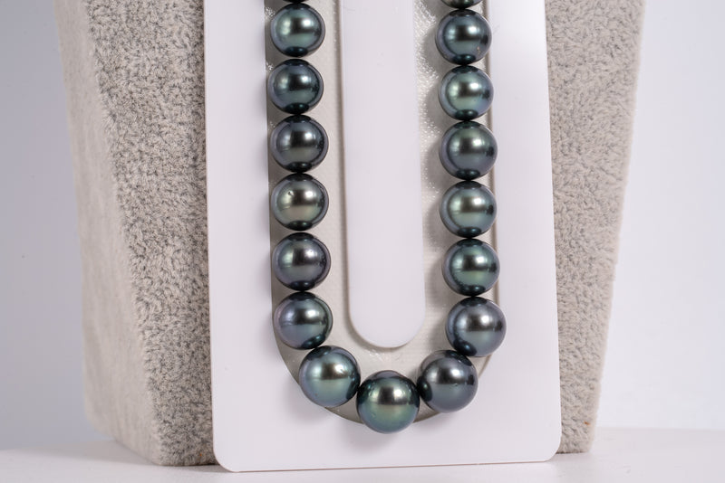 "49pcs ""Deep Purple Sea"" Purple Blue Necklace - Round/Semi-Round 8-10mm AA quality Tahitian Pearl"