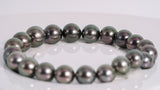 "21pcs ""Light to Dawn"" Green Cherry to Dark Green Cherry Color 8-10mm - Tahitian Pearl Bracelet Round AA quality"