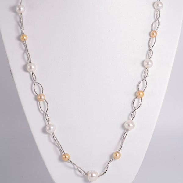 """Stylish Contrast"" Pearls & Silver Necklace"