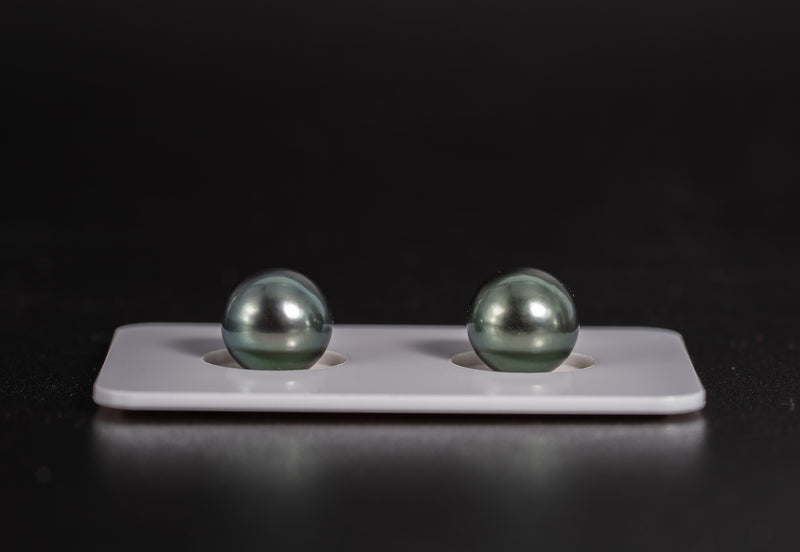 Green Blue 9mm Matched Pair - Round AA quality Tahitian Pearl Earrings