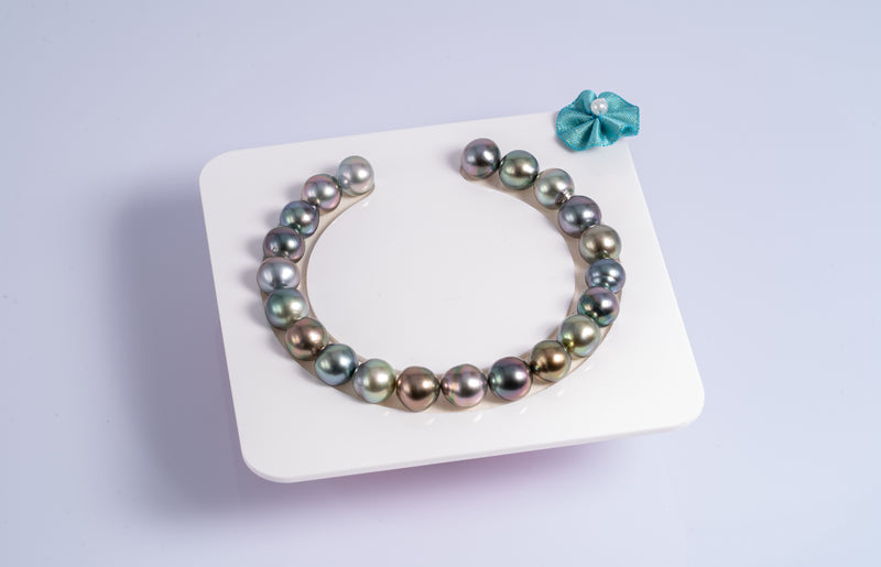 "21pcs ""Shine"" Multi-Color Bracelet - Semi-Baroque 9mm AAA quality Tahitian Pearl"