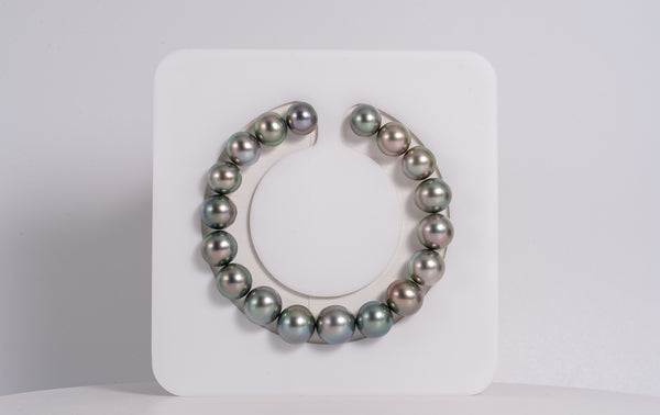 "18pcs ""Olive Mint"" Pastel Color in Green Blue Tone 9-11mm - Tahitian Pearl Bracelet OVAL TOP quality"