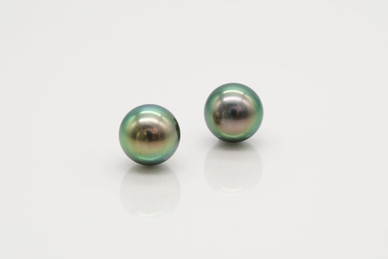 9mm Matched Pair - TOP AAA Round Peacock Color - BUY Tahitian Pearls jewellery wholesale - CMWPEARLS.COM