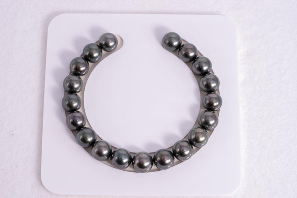 19pcs Tahitian Black Pearl in Dark 10mm Bracelet Round AAA quality