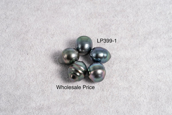 5pcs pack - 10mm Peacock Blue Color - Circle(Longer) AAA/AA quality Tahitian Pearl