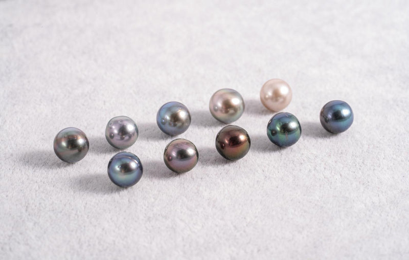 9mm Near Round - Multi Color AA quality Tahitian Pearl