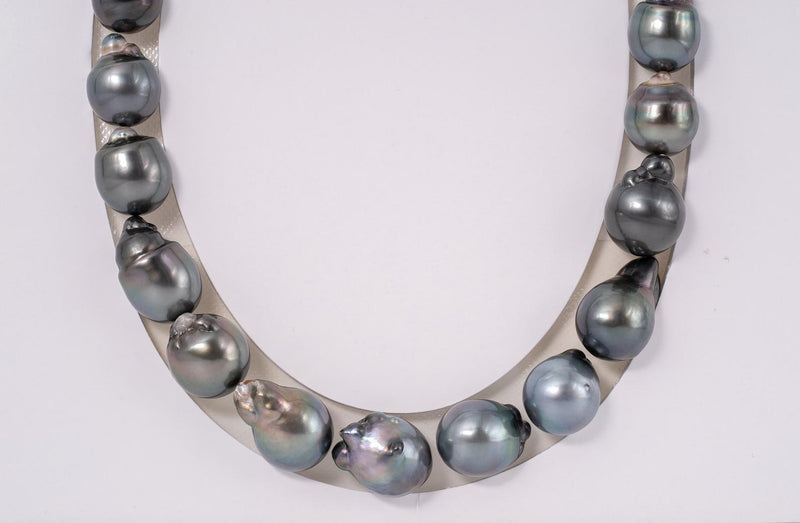 "25pcs ""Stone"" Grey & Green Blue Color Necklace - BQ 12-14mm AAA quality Tahitian Pearl"