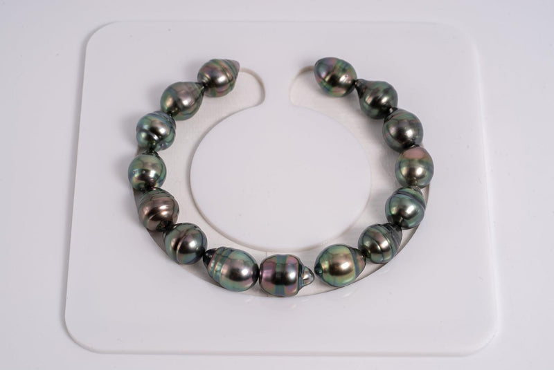 "15pcs ""Peacock Chronicles VI"" Bracelet - Circle 9mm AAA quality Tahitian Pearl"