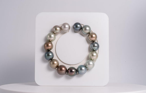"15pcs ""Pearl Candy"" Fancy Color Bracelet - Round 12-13mm AA quality Tahitian Pearl"