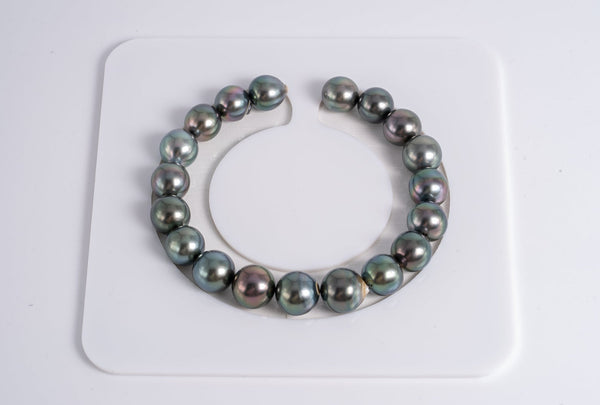 "19pcs ""Random Green"" Bracelet - Semi-Baroque 9-10mm AA quality Tahitian Pearl"