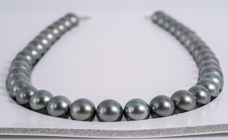 38pcs Blue in Grey Tone Necklace - Round 11mm AAA quality Tahitian Pearl