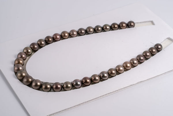 "35pcs ""Chocolate"" Bronze/Brown Color Pearl Necklace - Round 11-12mm AA quality Tahitian Pearl"