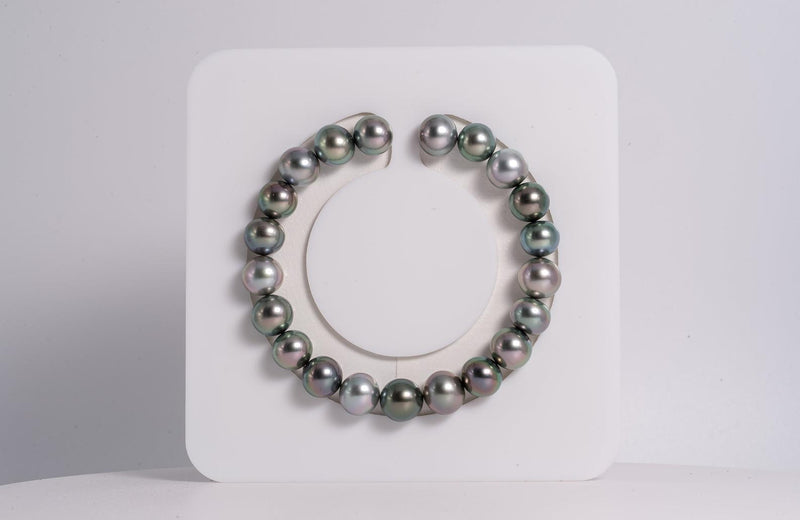 "21pcs ""Little Prince"" Green & Light Cherry Color Bracelet - Button 9mm AAA quality Tahitian Pearl"