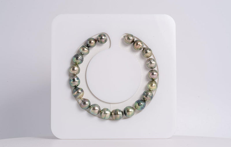 "20pcs ""Apple Green"" Green to Golden Green Color Bracelet - Circle 8mm AA quality Tahitian Pearl"
