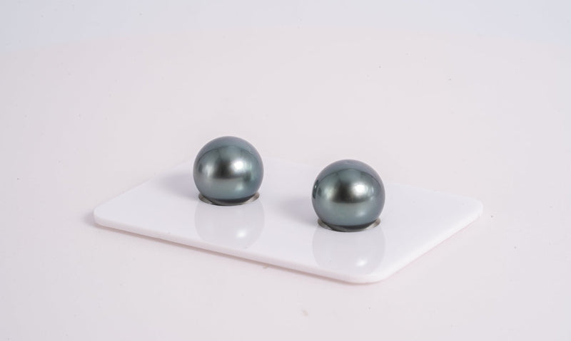 Special Price Blue Matched Pair - Round 10mm AAA quality Tahitian Pearl