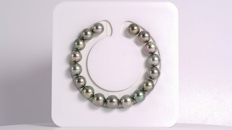 "17pcs ""Oriental"" - Multi Colour Bracelet - 9-10mm Tahitian Pearl Bracelet Semi-Round TOP quality"