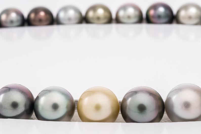 "37pcs ""FANCY"" necklace 11-12mm Round AAA Rare Tahitian Pearls"